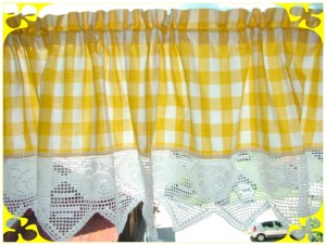 Landhausgardine, gelb / weiß, Nr. 277