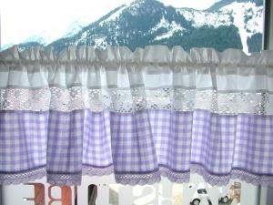 Landhausgardine, violett Nr. 221, 100% Bw / Handarbeit, Näharbeit