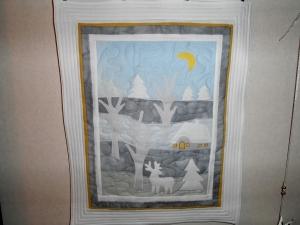 Winterbild,Wandbehang, Quilt, Wandbild .  goldener Anfang Winterzauber