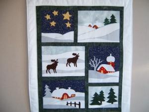 Winterbild,Wandbehang, Quilt, Wandbild .   Winterzauber