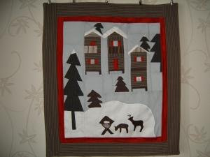 Winterbild,Wandbehang, Quilt, Wandbild .