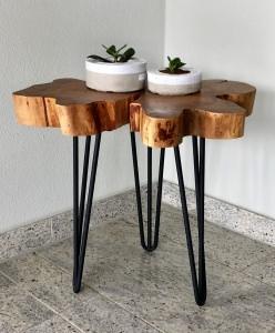 Beistelltisch aus Kirsche massiv Echtholz Baumscheibe, Nachttisch, Couchtisch, 50cm