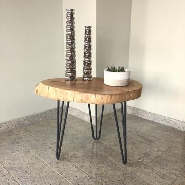 Beistelltisch aus Eiche massiv Echtholz Baumscheibe oval, Nachttisch, Couchtisch, 64cm