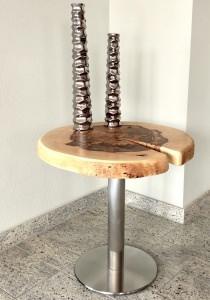 Beistelltisch aus Buche massiv Echtholz Baumscheibe rund, Nachttisch, Couchtisch, 50cm