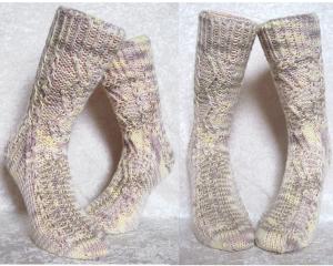 Handgestrickte Socken Gr 38 39 ☆Zick Zack☆ hellbeige hellbraun hellgelb unisex ☆ Verrückte Maschen