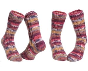 Handgestrickte Socken Gr 40 41 hellbeige bordeaux hell orangerot gelb grau ♀unisex♂ Verrückte Maschen