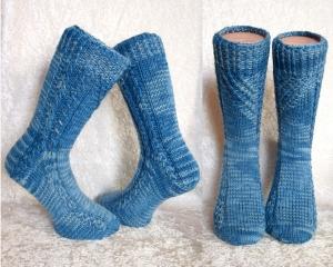 Handgestrickte Socken ☆Blue☆ Gr. 37/38  in Blautönen, unisex ☆ Verrückte Maschen