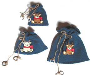 3er Set Geschenkesäckchen, ★Rentier★ Geschenkverpackungen in blau von Verrückte Maschen