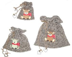 3er Set Geschenkesäckchen, ★Rentier★ Geschenkverpackungen in grau und weiß von Verrückte Maschen