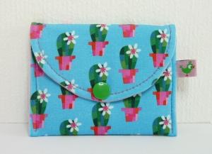 Handmade Minigeldbörse ♥ Kaktus ♥ türkis pink für Kleingeld und Karten für Mädchen und Frauen kaufen
