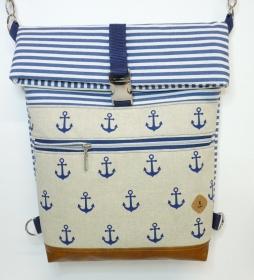 Handmade Umhängetasche Rucksack Anker und Streifen maritim aus Canvas für Frauen und Mädchen kaufen