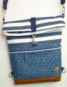 Handgenähter Rucksack Umhängetasche aus Canvas und Kunstleder maritim Streifen Anker für Damen und Mädchen kaufen