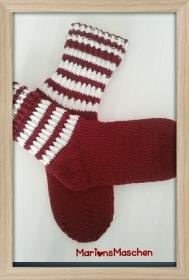Socken für jung und alt - handgestrickt mit ❤ Ringelsocken in rot und weiß