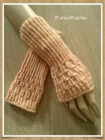 Arm- und Handstulpen in aprikot • handgestrickt mit ❤    - Handarbeit kaufen