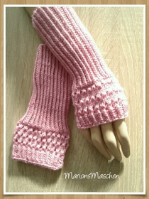 Arm- und Handstulpen in pink • handgestrickt mit ❤    - Handarbeit kaufen