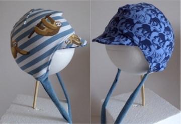 Bindemütze mit Schirm / Wendemütze KU 40-42 Elefant/Faultier blau