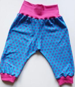 Pumphose / Mitwachshose - Sterne - blau/pink - Gr. 74-80
