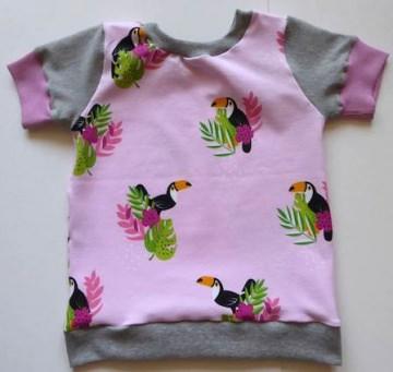 T-Shirt rosa mit Tukan - Gr. 86 Baumwoll-Jersey