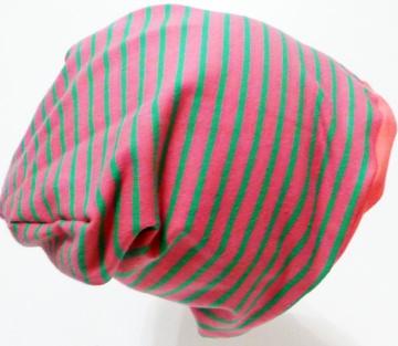 SALE - Baby-Mütze - Beanie - Streifen rosa/grün - KU 40-45
