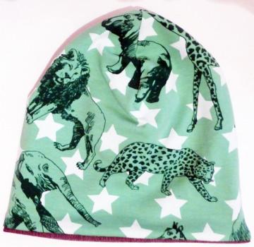SALE - Baby-Mütze - Beanie - Wildtiere grün (Elefant, Leopard, Giraffe, Nilpferd) - KU 40-45
