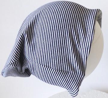 SALE - Baby-Mütze - Beanie - Streifen dunkelblau, weiß - KU 40-45