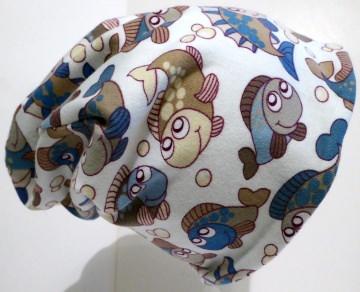 SALE - Baby-Mütze - Beanie - Fische blau - KU 40-45