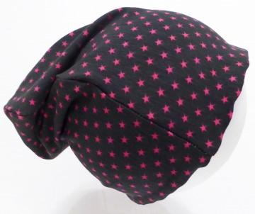 SALE - Kinder-Mütze - Beanie - Sterne pink, dunkelgrau- KU 46-52 (