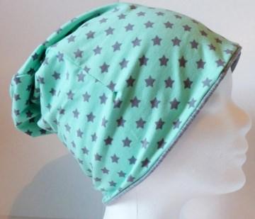 SALE - Kinder-Mütze - Beanie - Sterne, mintgrün- KU 46-52