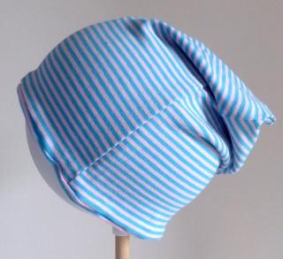 SALE - Kinder-Mütze - Beanie - Streifen hellblau/rosa - KU 46-52