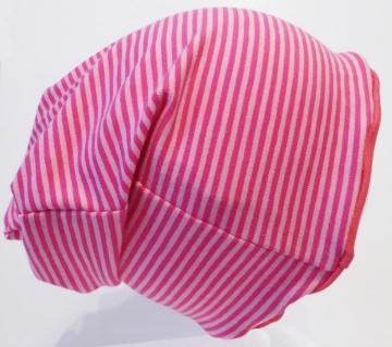 SALE - Kinder-Mütze - Beanie - Streifen rosa/pink - KU 46-52