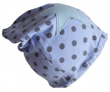 SALE - Kinder-Mütze - Beanie - Gepunktet mit Stern hellblau - KU 46-52