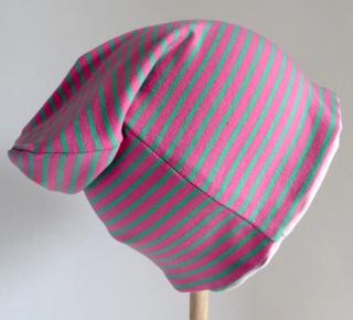 SALE - Kinder-Mütze - Beanie - Streifen pink/grün - KU 46-52