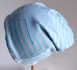 SALE - Kinder-Mütze - Beanie - hellblau/grau gestreift mit Stern hellblau - KU 46-52