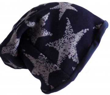 SALE - Beanie graue Sterne auf dunkelblau - KU 54-58