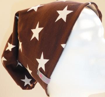 SALE - Beanie - Sterne weiß auf braun - KU 54-58