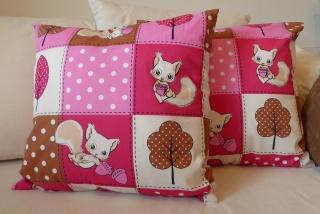Kissenbezug - Eichhörnchen - 50x50cm (rosa, beige, braun)