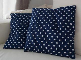 2x Kissenbezug - Sterne  - dunkelblau - 40x40cm