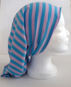 Multifunktionstuch (Kopftuch, Sturmhaube, Halstuch, Stirnband...) - hellrosa/hellblau gestreift in Wunschgröße