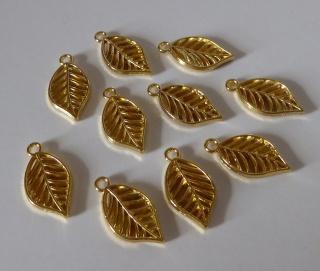 Schmuckanhänger Blätter gold (10er Pack)