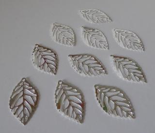 10er Pack - Schmuckanhänger filigrane Blätter silber
