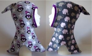 Schalmütze mit Zipfel Gr. 50-54 - Pinguin mit Schal / Elefantenparade rosa Wendemütze