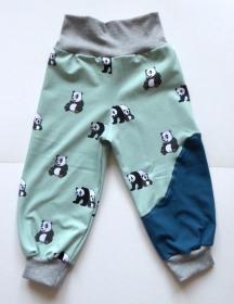 Pumphose Gr. 86/92 - Panda-Familie mintgrün / petrol