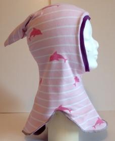 Schalmütze mit Zipfel Gr. 50/52- Delfine rosa / Wintermütze  innen Fleece