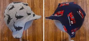 KU 46-48 Babymütze / Ohrenklappenmütze / Fliegermütze / Wendemütze mit Schirm Haie+Feuerwehr