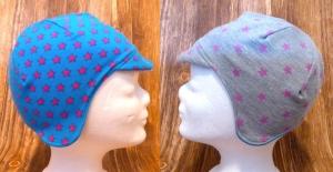 KU 48-52 Babymütze / Ohrenklappenmütze / Fliegermütze / Wendemütze mit Sterne blau/grau