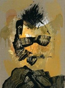 Torso abstrakt mit 'Sonnenbrille'? / Abtönfarbe auf Pappe