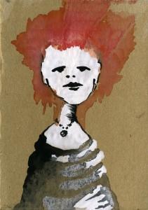 Frau mit roten Haaren / Abtönfarbe auf Pappe