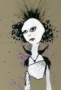 Frauen Figur schwarz/weiss mit farblichen Akzenten