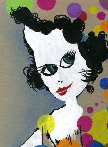 Frauengesicht mit farblichen Akzenten / Abtönfarbe auf Pappe
