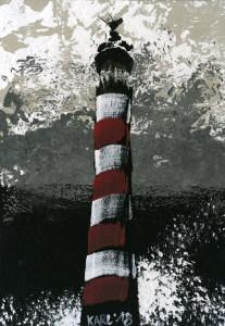 Leuchtturm auf Pappe /Handgemalt